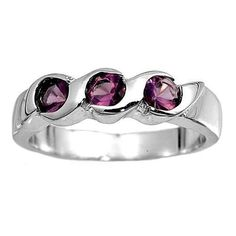 Sterling Silver Purple Amethyst CZ Three Stone Ring Size 1 2
