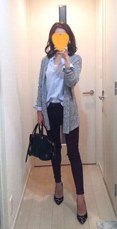 Blue shirt: Kamakura shirt, Grey cardigan: Theory, Purple skinny: TOPSHOP, Bag: Tod's, Leopard pumps: Fabio Rusconi