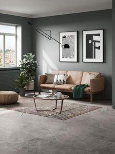 suelo del baldosas grises Living Room Grey, Interior Design Living Room, Living Room Designs, Living Room Flooring, Tile Living Room, Living Rooms, Room Wall Tiles, Grey Floor Tiles, Bold Colors