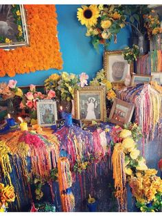 Reminds me of dia de Los Muertos Shrine to those you love. Love the dripped wax!