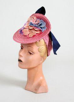 Vintage 1930s Dramatic Pink Floral Straw Tilt Hat