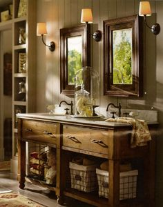 rustic mirrors | rustic double bathroom sinks and mirrors | Bathrooms