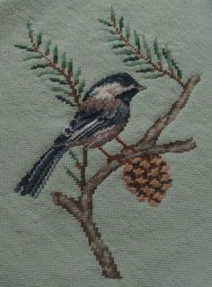 Needlepoint Chickadee Blue Bird Pine Cone Pine Tree Hand Stitched  Pale Green Background Vintage via Etsy