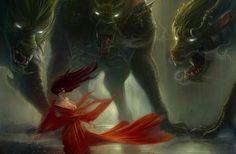 Sexy Scary Dark Art | fantasy art dark horror monsters demons wolves wolf women mood scared ...