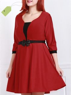 Sweet Low-Cut Scoop Neck 34 Sleeve Waist Bowknot Plus Size Dress For Women