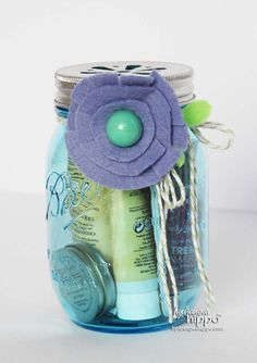 Mason Jar Gift - Mani Pedi Spa Jar Gift Idea for Christmas by Jennifer Priest