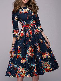 VEZAD Retro Dress Women Floral Printing Half Sleeve Long Sleevel Dress *** Find out more by going to the image web link. (This is an affiliate link). Modest Fashion, Women's Fashion Dresses, Casual Dresses, Floral Dresses, Cheap Dresses, Style Fashion, Feminine Fashion, Fashion Women, High Fashion