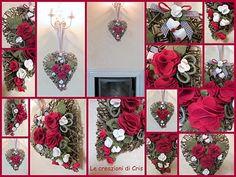 cuori decorati con il feltro