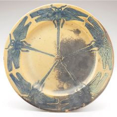 Pewabic Pottery - Plate - Dragonflies - Arts & Crafts