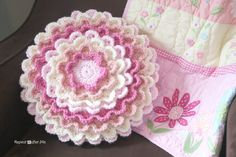 Crochet Blooming Flower Pillow tutorial with pictures.  So beautiful! What a great gift idea.