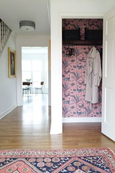Foyer and entryway lighting ideas from House of Hipsters Classic Wallpaper, Lit Wallpaper, Wallpaper Ideas, Entryway Lighting, Entryway Decor, Entryway Closet, Entryway Ideas, Mudroom, Foyer Decorating