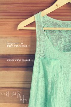 mint burnout tank top - hand made and SO cute :)