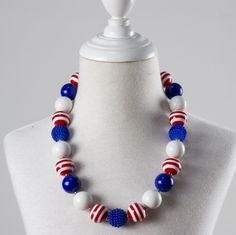 girl fashion necklace child beads bubble gum necklace kids chunky jewelry 4th of july