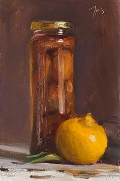 daily painting titled Bottled figs and Bergamot -- J M Smith