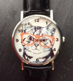 Black Faux Leather Strap Kitten in Glasses Wristwatch #present #xmas #christmas #black #fauxleather #leather #kitten #cat #animals #watches #watch #wrist #wristwatch #glasses #orange #cute http://m.ebay.co.uk/itm/Black-Faux-Leather-Strap-Kitten-Glasses-Women-Wrist-Watch-Ladies-Xmas-Cat-Animal-/282164321183?nav=SELLING_ACTIVE