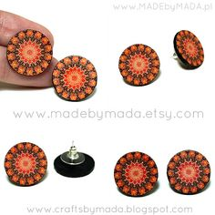 Old School Post Earrings Rosette  Mandala  Tangerine by MADEbyMADA, $12.00