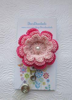 Crochet Pink Flower Badge Reel  - Retractable Badge Reel -