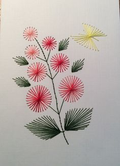 handmade greeting card ... embroidered  mathematical string art .. branch of circle flowers with leaves ...