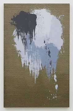 Andisheh Avini, Untitled, 2013. Silkscreen ink and marquetry on wood, 40 x 25 inches - Marianne Boesky Gallery