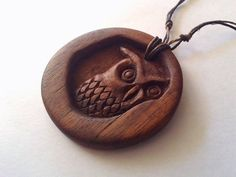 Wooden Owl Pendant, Wooden pendant,wooden necklace,Owl wood carved