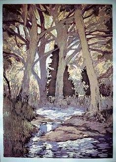 Creek in Evening woodblock print by Jennifer Worsley