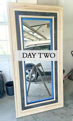 DIY floor mirror tutorial using the Ikea Mongstad modern mirror makeover inspired by Restoration Hardware St James Collection. From modern to classic. Ikea Mirror Hack, Diy Mirror, Ikea Hacks, Mirror Makeover, Ikea Makeover, Furniture Makeover, Trumeau Mirror, Diy Flooring, Diy Frame
