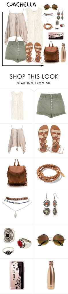 """Boho Coachella"" by thecarly ❤ liked on Polyvore featuring River Island, Sans Souci, Billabong, Henri Bendel, Wet Seal, Red Camel, MANGO, Casetify, S'well and packforcoachella"