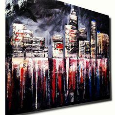 Abstract Skyline Acrylic Painting New York Skyline by ErikPerezArt, $375.00