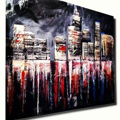 Abstract Skyline Acrylic Painting New York Skyline by ErikPerezArt, $375.00