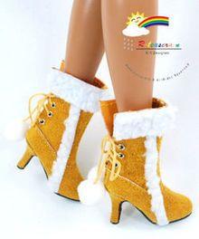 """16"""" Tonner Tyler/Gene Shoes Suede Fur Heel Boot Mustard"""