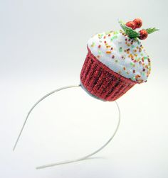 Holly  Ivy Christmas Cupcake Fascinator - Whimsical Holiday Photo Prop - Holiday Party - funny hat