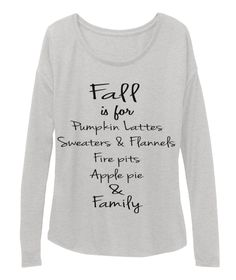 Fall Is For Pumpkin Lattes Sweaters & Flannels Fire Pits Apple Pie  & Family Athletic Heather T-Shirt Front