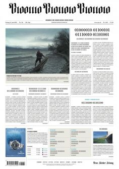 Swiss newspaper prints its entire front page in binary to celebrate going fully digital