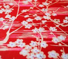 Handmade origami paper  Red sakura