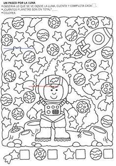 Album sous forme d& Preschool Worksheets, Preschool Crafts, Kindergarten Activities, Preschool Activities, Teaching Kids, Kids Learning, Space Activities, Summer Reading Program, Hidden Pictures