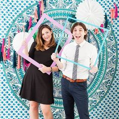 Fab Boho backdrop and photo frame props at this photobooth! #rentmyphotobooth Photo via #EliteDaily