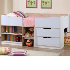 Not only a great space saving idea but a bed your children will love. Perfect for those smaller bedrooms that have limited space the Paddington cabin bed is a mid-sleeper that has a combination of drawers and shelves beneath the sleeping area. The cabin style bed is a medium height sleeper with ce