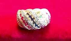 Lovely Colored Stones Over Gold Tone Ring  by FancyThatBlingCo