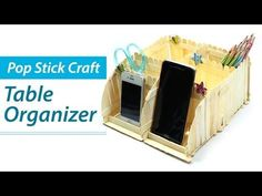 Popsicle Stick Crafts: DIY Desk Organizer, Phone Stand, Ice Cream Sticks Craft Ideas - YouTube