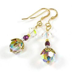 #Gold Swarovksi AB Finish Handmade #Earrings #Flower Bead Cap @SolanaKaiDesigns