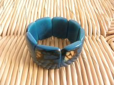 Tagua Nut Seed Eco Friendly Stretchy Fair Trade Blue by Etnochik