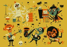 Ben Newman's MONSTERS #halloween #illustration #color #monsters #music