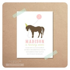 Horse Pony Birthday Invitation Set By OliveandStar On Etsy 1650 Art Party Invitations First