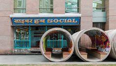 Gallery of Cyber Hub Social / Chromed Design Studio / desing street furniture / reconvertion / reuse concrete drainpipe /