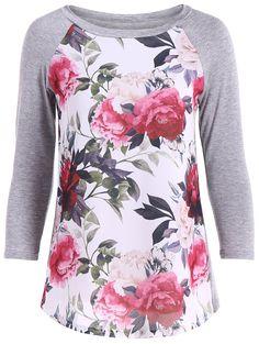 $12.67 Flower Print 3D Raglan Sleeve T-Shirt