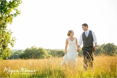 Bride and Groom in field. Southern Wedding. Megan Manus Photography