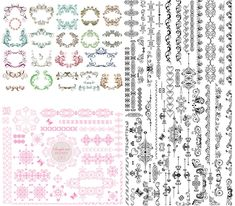 "3 Sets of vector vintage frames and decorative borders with floral classic ornaments for your ornate designs, cards, brochures, decorations, wedding invitations and other graphic embellishment. Format: EPS stock vector clip art and illustrations. Free for download. Set name: ""Vintage…"