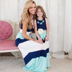 Summer Mother Daughter Dresses Family Matching Clothing Women Girls Dress Casual Family Clothes Sleeveless Stripe Dress New
