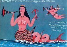 '' The Mermaid'' by N. Mermaid History, Greek Paintings, Tarot, Vintage Mermaid, Poster Pictures, Merfolk, Greek Art, 2d Art, Conceptual Art