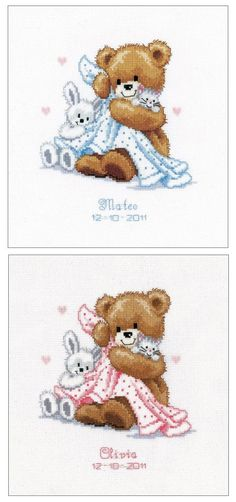 Teddy and Blanket Birth Sampler Cross Stitch Kit | sewandso
